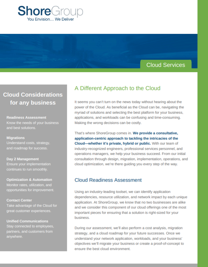 ShoreGroup Cloud Services Brochure Cover